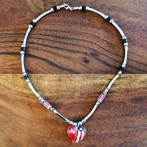 Jewelry - Silver & enamel Texas flag heart necklace